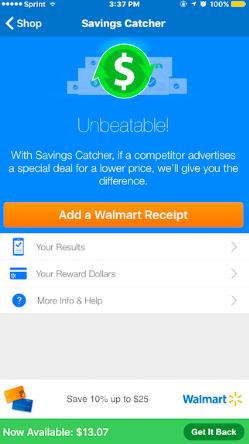 Walmart Savings Tracker app