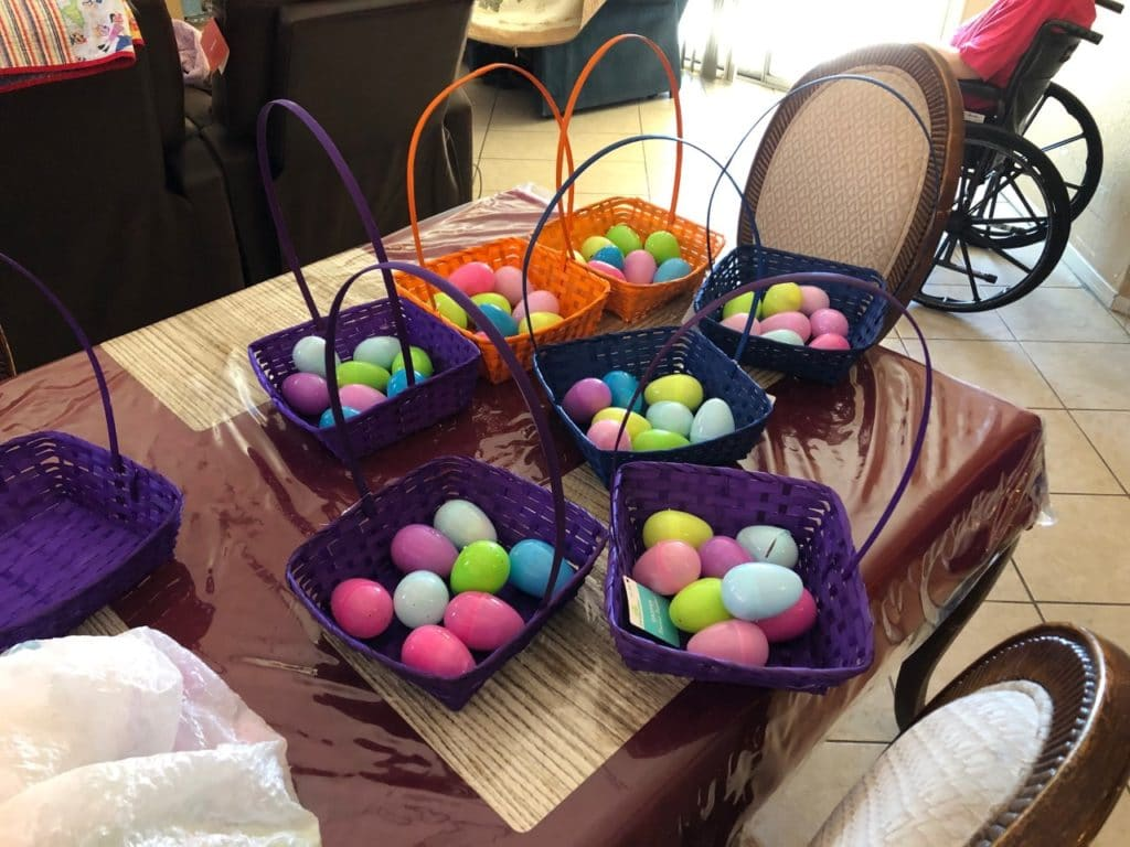Our residents helped us stuff eggs in our homes in Surprise and Goodyear