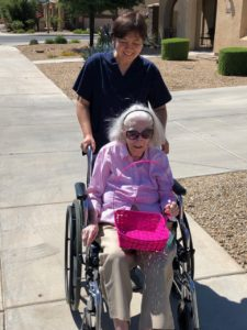 Caregivers and residents helped each other find the Easter Eggs