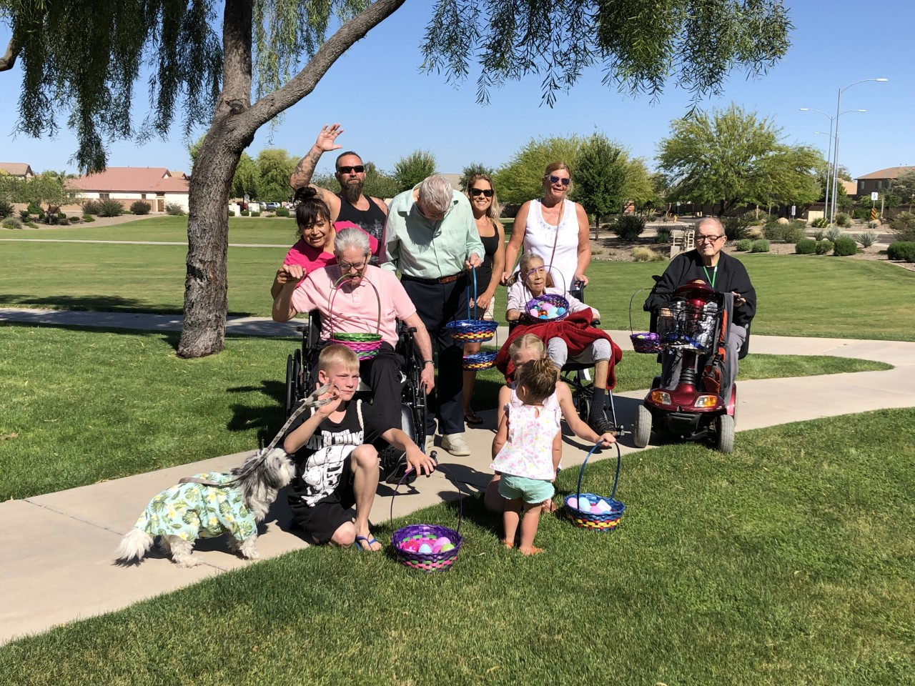 Caregivers, Neighbors and residents all turned out for our Easter Egg Hunts