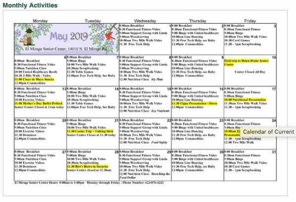 Senior Centers around Surprise often offer calendars of activities