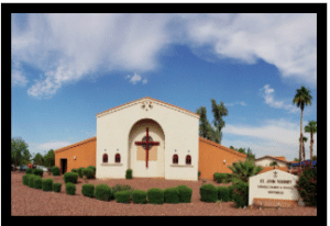 The Front of the only Catholic Church in Goodyear