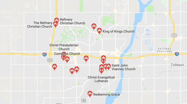 Map of Churches in Goodyear AZ
